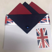 Blue Navy and Cherry Red Pocket hankie with Navy flap and pin